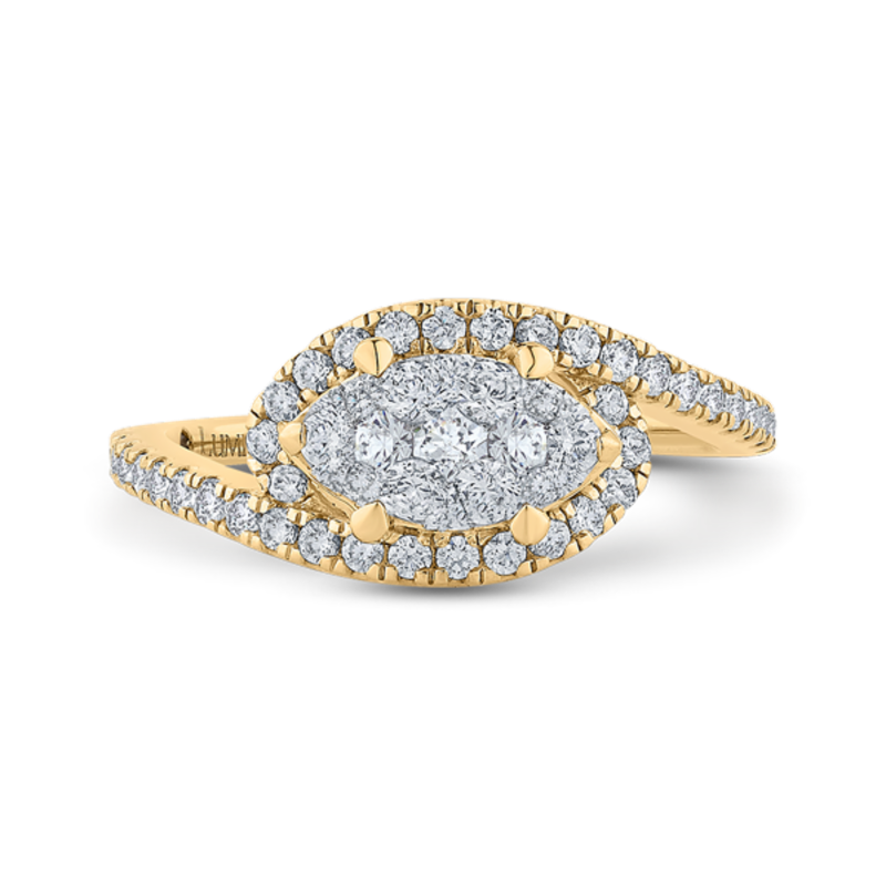14K Two-Tone Gold Round Diamond Promise Engagement Ring
