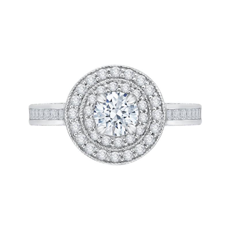 14K White Gold Round and Princess Diamond Double Halo Engagement Ring