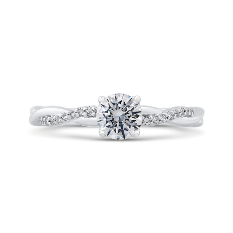14K White Gold Round Diamond Engagement Ring with Crossover Shank