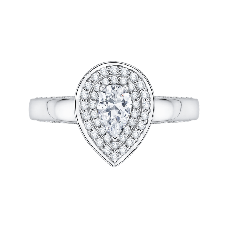 14K White Gold Pear Diamond Double Halo Engagement Ring