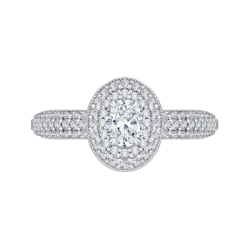 14K White Gold Oval Diamond Double Halo Engagement Ring