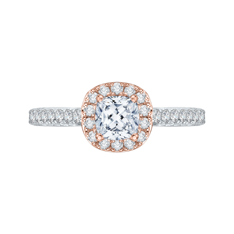 Cushion Diamond Halo Engagement Ring In 14K Two-Tone Gold