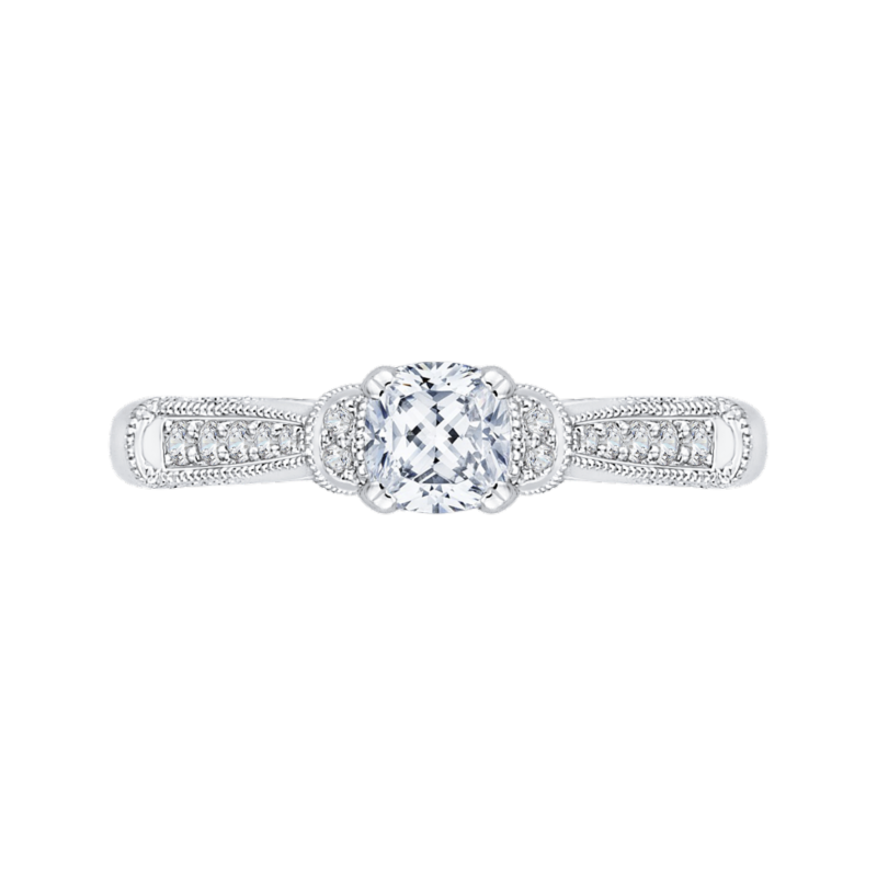 14K White Gold Cushion Diamond Cathedral Style Engagement Ring
