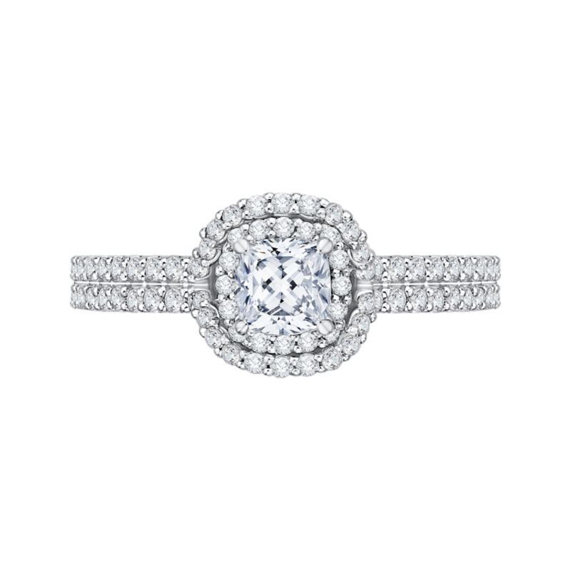 14K White Gold Cushion Cut Diamond Double Halo Cathedral Style Engagement Ring
