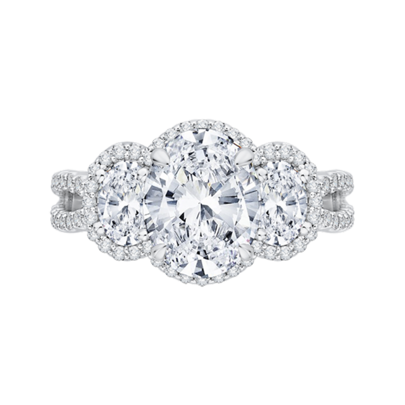 Oval Diamond Three-Stone Halo Engagement Ring In 18K White Gold with Split Shank (Semi-Mount)