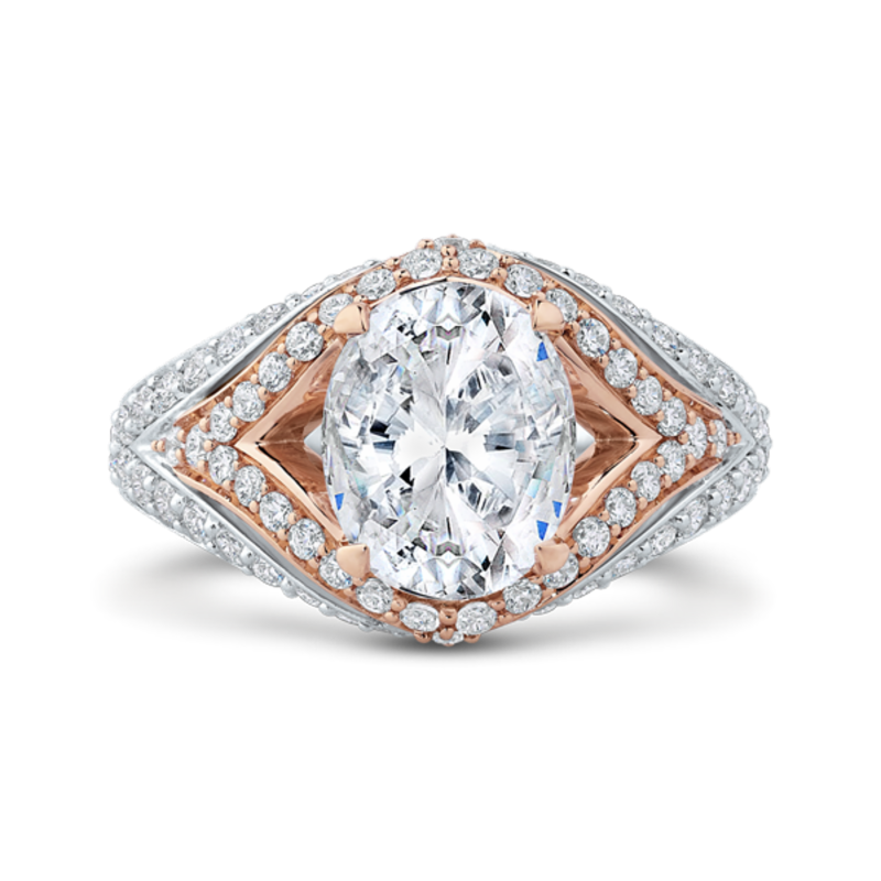 18K Two-Tone Gold Oval Diamond Engagement Ring with Split Shank (Semi-Mount)